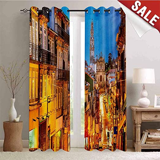 Europe Street Homes Scenery 3D Printing Window Curtains Blockout Drapes Fabric