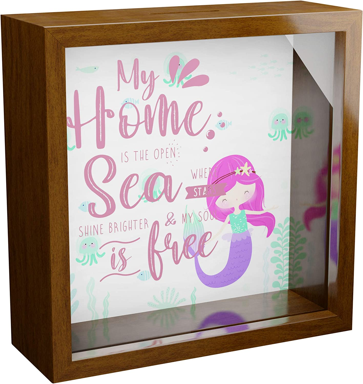 Mermaid Wall Decor Gifts | 6x6x2 Glass Fronted Shadow Box | Wooden Keepsake Box for Mermaids Lover | Great as Room, Bedroom or Home Decorations | Special Display Case for Girls and Women