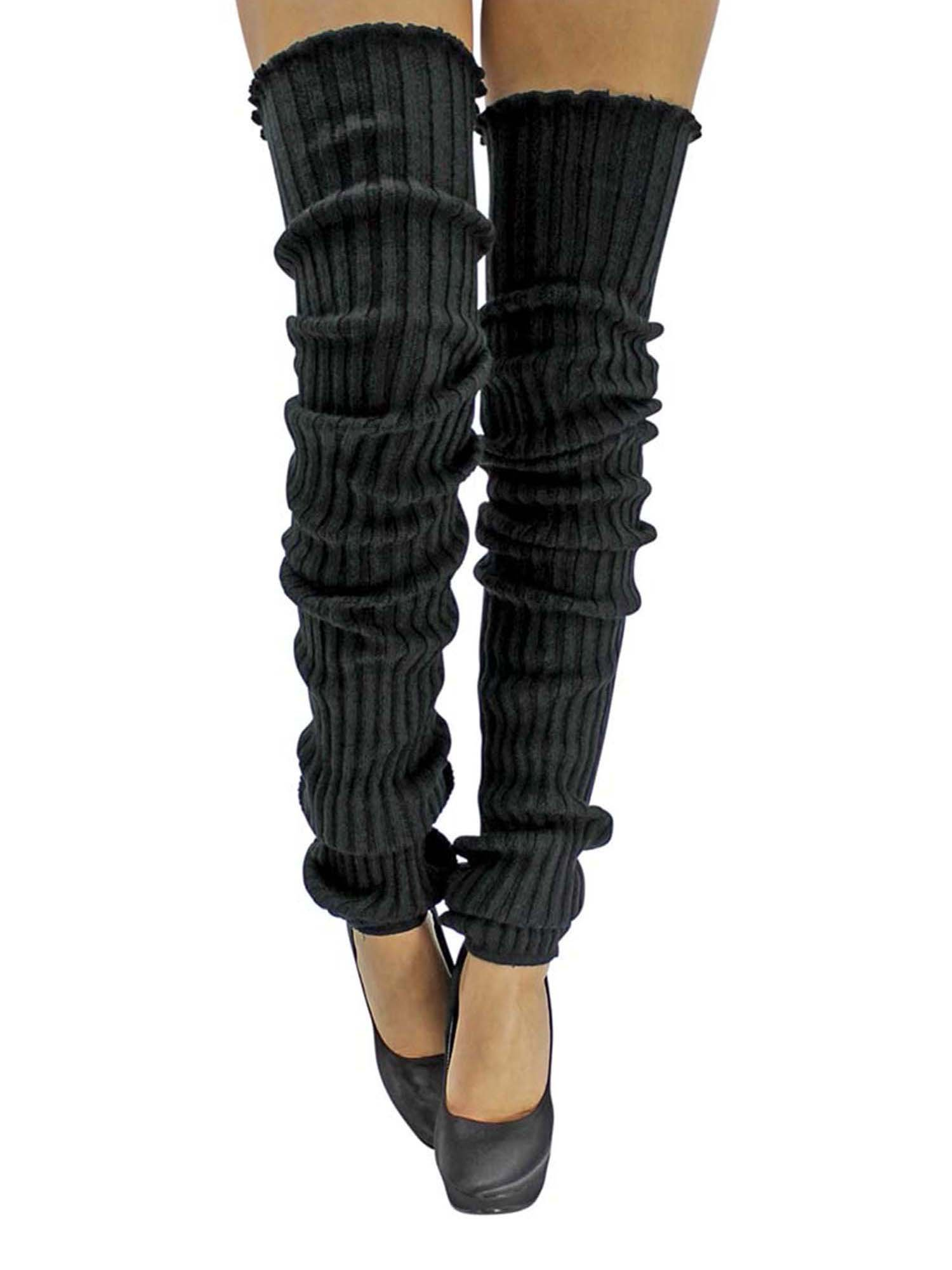 Black Slouchy Thigh High Knit Dance Leg Warmers