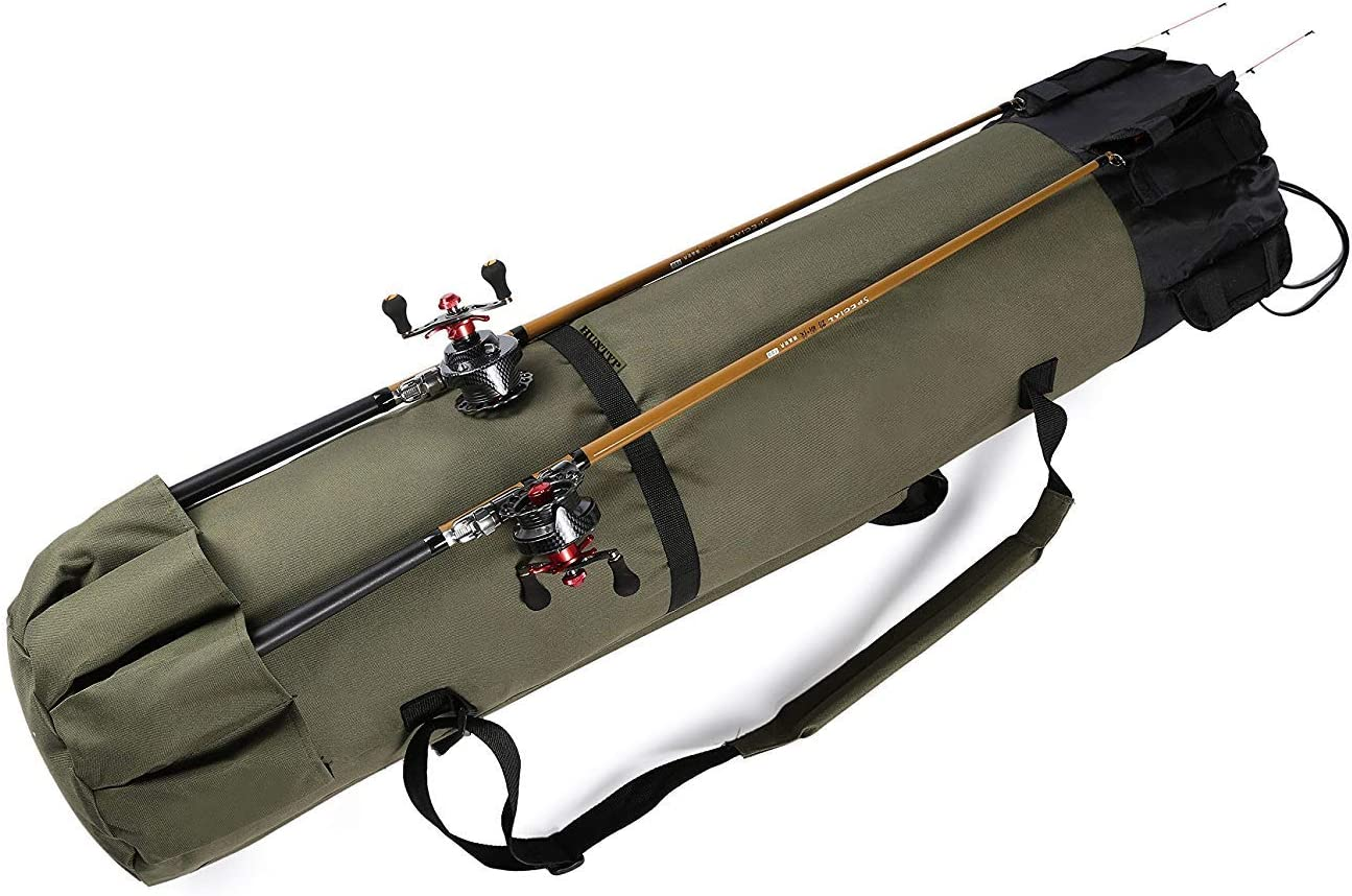 Ationgle Fishing Rod Organizer Bag -Rod Reel Portable Fishing Pole Storage Bag with Adjustable Shoulder Strap Carrying Case – Holds 5 Poles Tackle Heavy-Duty, Water-Resistant ArmyGreen