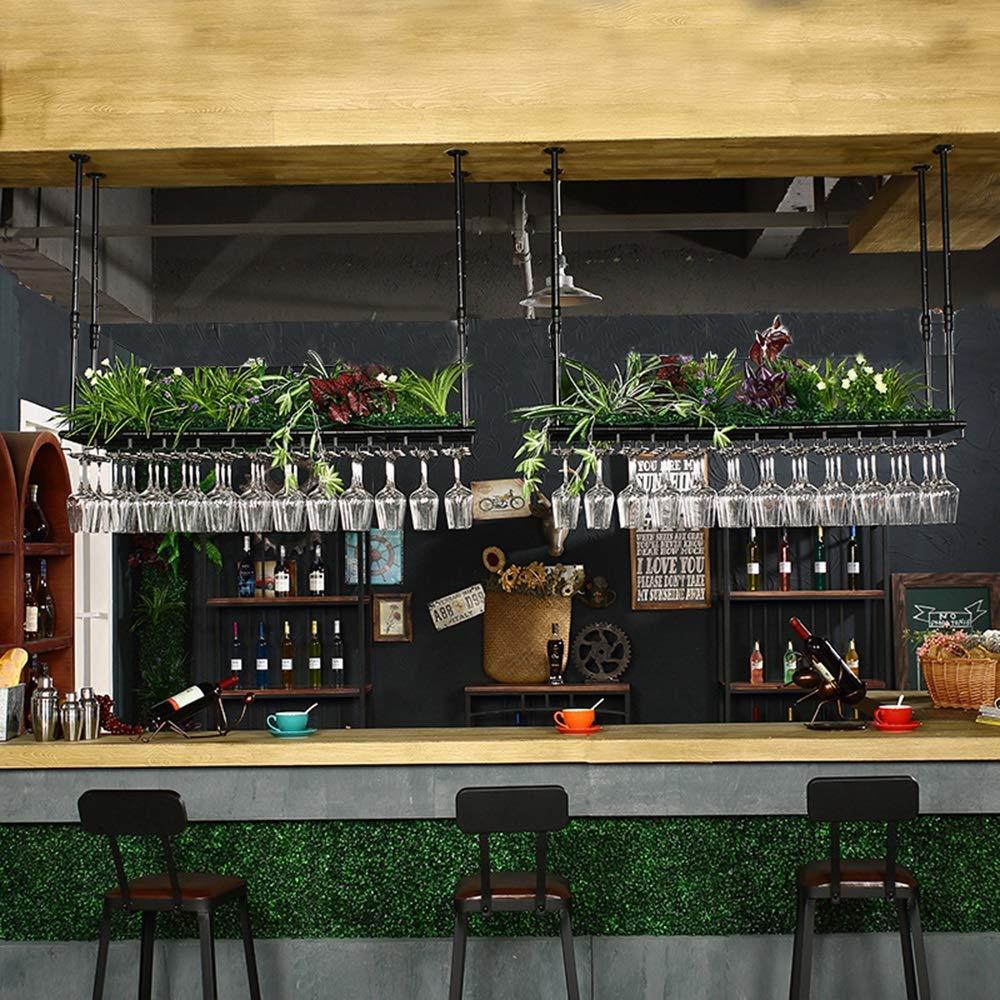 LJFJJ Casier /à Vin Hauteur R/églable Porte-gobelet en fer Forg/é Suspension de Plafond Rangez Des Verres /à Vin et Des Bouteilles de Vin Rouge /Étag/ère Multifonctionnelle 60//80//100//120cm
