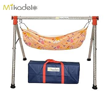 mikadelo indian style fully folding stainless steel ghodiyu  baby cradle  with cotton hammock   buy mikadelo indian style fully folding stainless steel ghodiyu      rh   amazon in