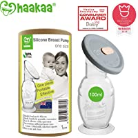 Haakaa Breast Pump Silicone Breastpump Milk Saver Milk Pump with Suction Base and Upgrade Silicone Lid 100% Food Grade Silicone BPA Free (4oz/100ml with Lid)