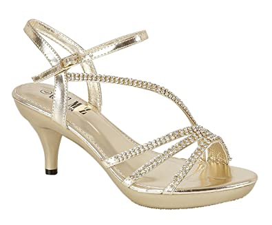 dd06eeead635 Chic Feet Gold Diamante Evening Wedding Bridal Prom Party Low Heel Sandals  - UK Size 4