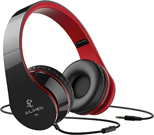 AILIHEN Wired Headphones with Microphone, Stereo Foldable Lightweight On Ear Headset for iOS Android Smartphone Cellphones Laptop Tablet PC Computer Black Red