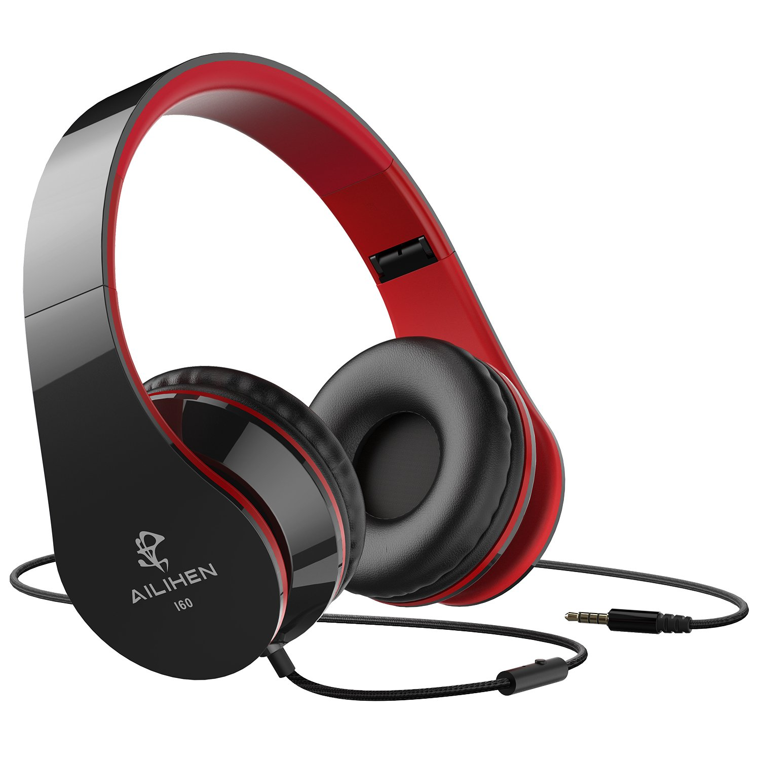 AILIHEN Wired Headphones with Microphone for Smartphones (Black Red) by AILIHEN