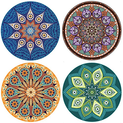 "ENKORE Absorbent Ceramic Stone - Coasters For Drinks 4 Pack, 4.3"" Functional Area With Cork Back, Larger Than Standard Size, No Holder - 4 MANDALA Designs In 1 Set, Protect Furniture From Water Rings"