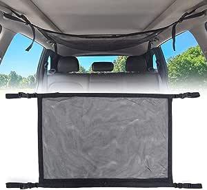 Car Ceiling Storage Net, Universal Car Roof Interior Cargo Net Bag with Zipper, Car Trunk Storage Organizer Sundries Storage Bag for Jeep Van SUV