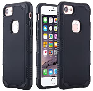 iPhone 7 Case, AICase 2 in 1 Shield Hybrid Dual Layer High Impact TPU + PC Soft Hard Armor Defender Protective Cover Case for iPhone 7 4.7 inch (Black)