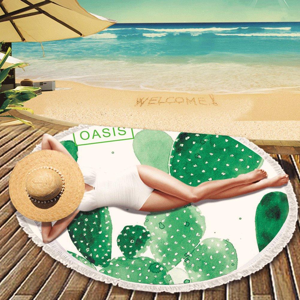 ED-Lumos Toalla de Playa Manta para Playa o Picnic Microfibra Poliéster Redondo con Gigante 150cm x 150cm Forma Cacto Color Verde y Blanco: Amazon.es: Hogar