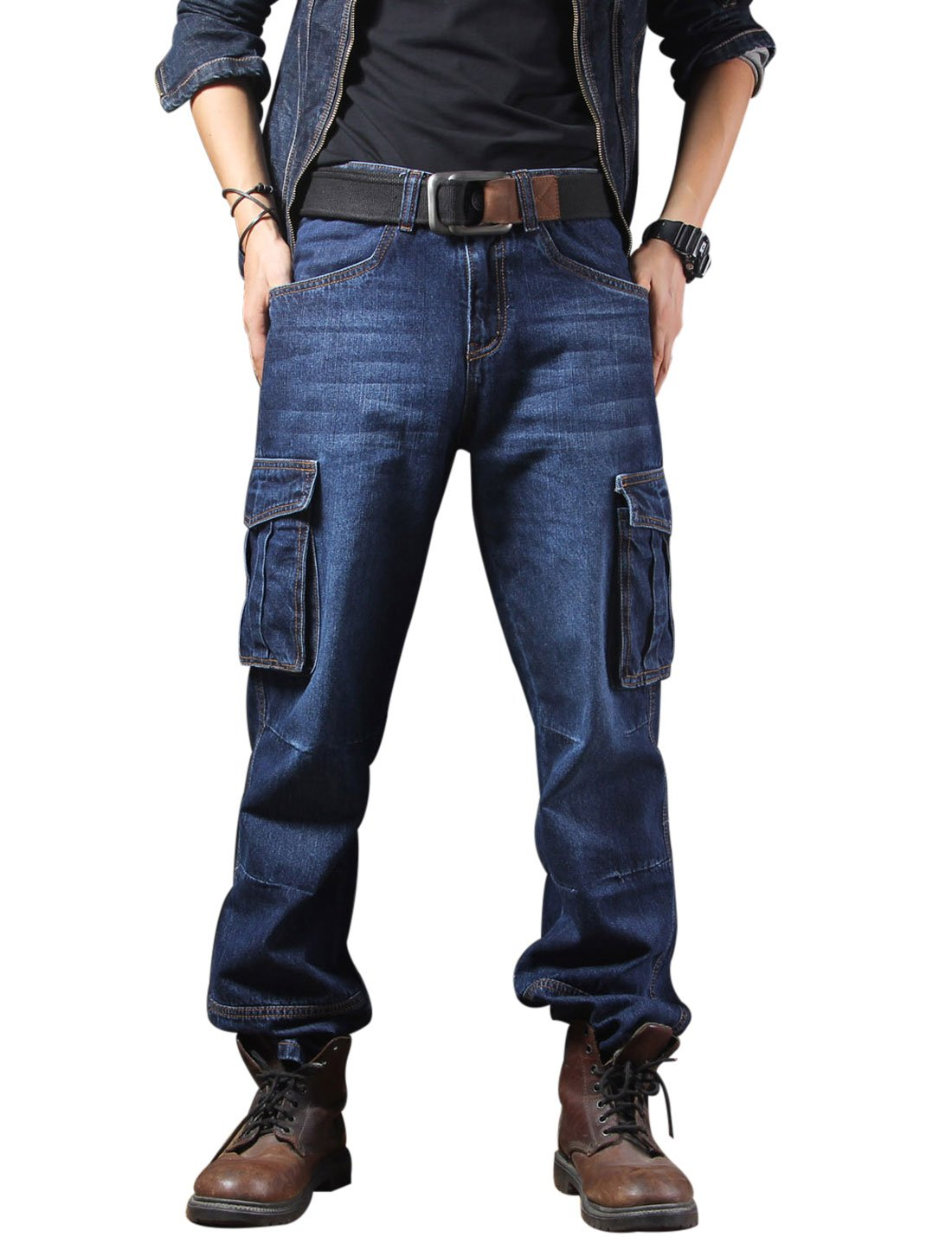 Yeokou Men's Casual Loose Hip Hop Denim Work Pants Jeans with Cargo Pockets Cargo Jeans (34, Dark Blue)