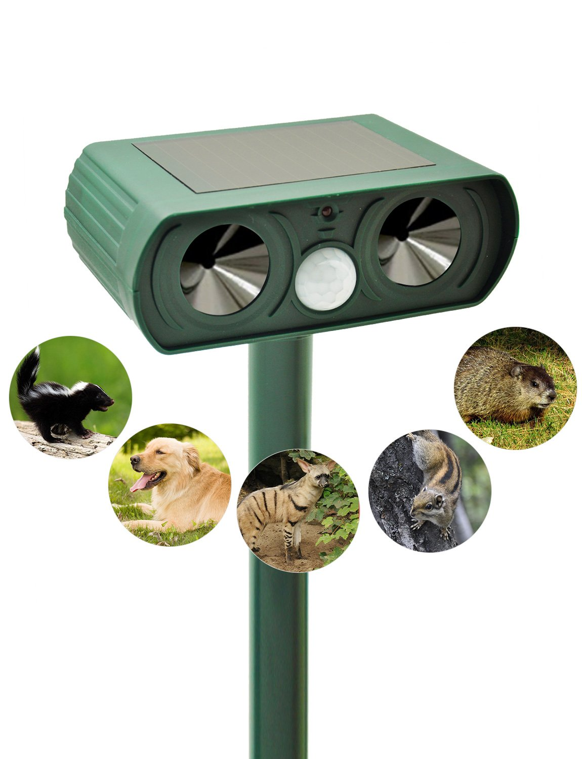 Gardome Ultrasonic Animal Repeller, Solar Powered Pest Repeller with Motion Activated PIR Sensor, Outdoor Waterproof Farm Garden Repellent, Repel Dogs, Gophers, Skunks, Coyote and Squirrels