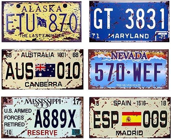 Easy Painter - Placa metálica para matrícula de coche (6 unidades, 6 x 6 x 12 cm), diseño vintage de bares, pubs, garajes, decoración de metal, placa de pintura (AUS, ESP, ETU): Amazon.es: Hogar
