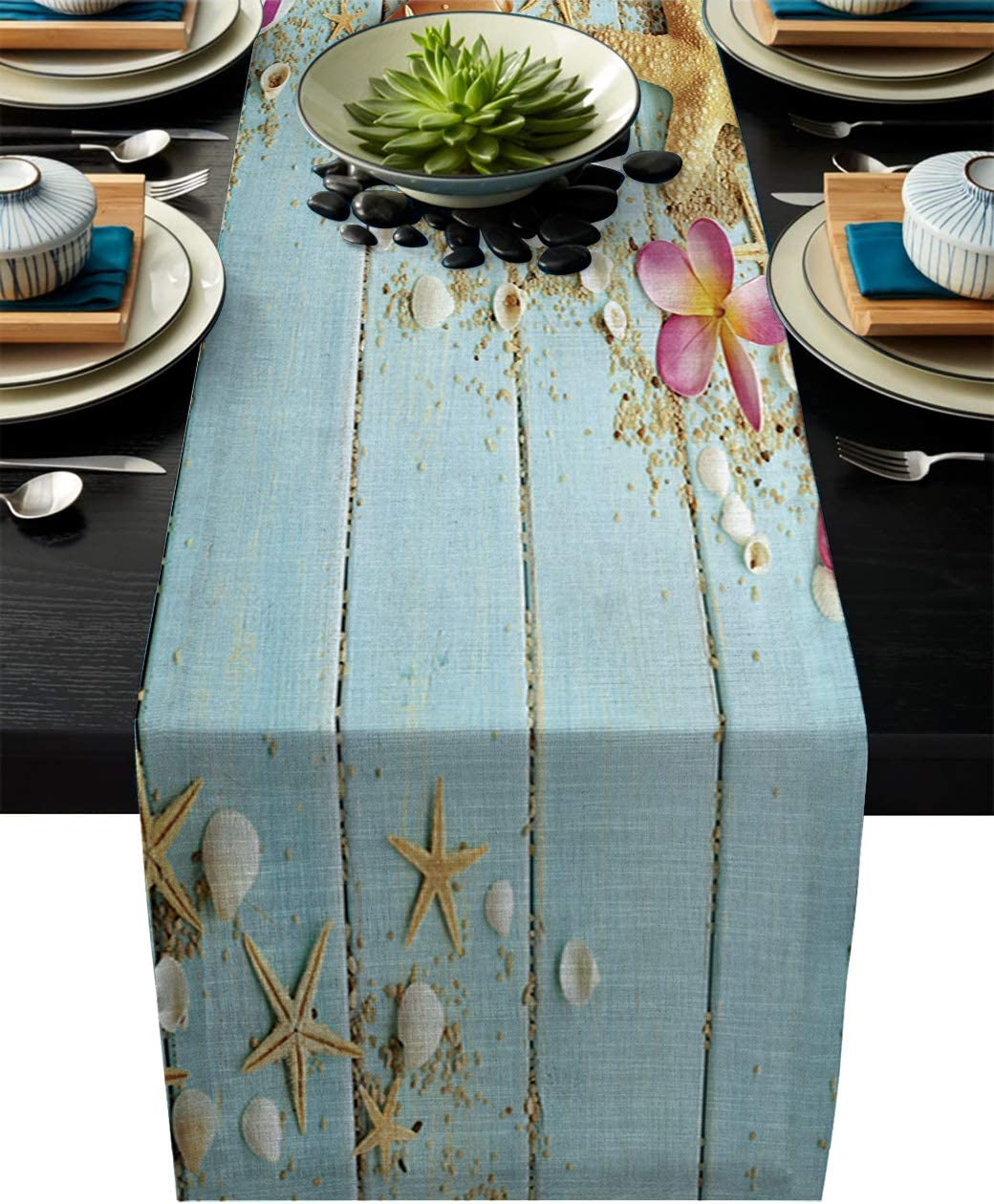 Greeeen Linen Burlap Table Runner, Starfish Kitchen Table Runners for Family Dinner, Banquet, Parties and Celebrations, Beach Theme Seashells Table Decor, 16 x 72 inch