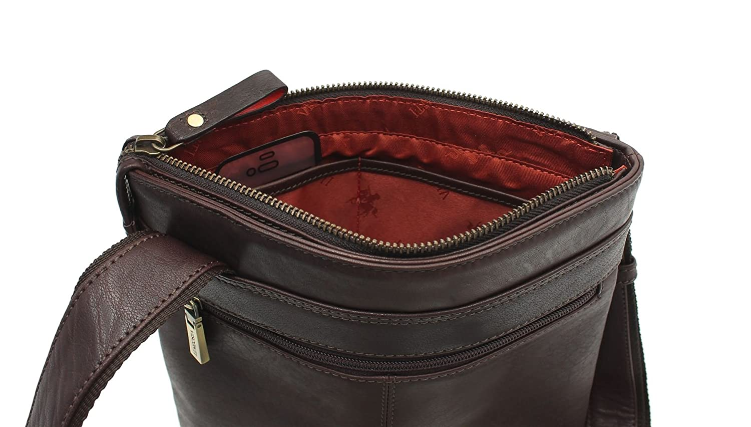 Visconti Merlin kollektion TAYLOR läder Cross Body / Messenger Bag ML25 brun BRUN