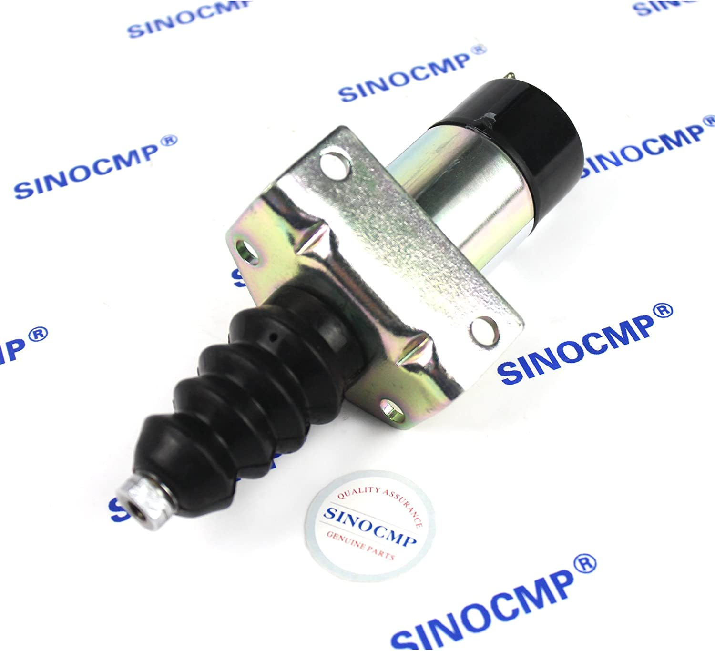 Dasing 1502-12C7U2B2S1 SA-3405T 366-07197 2 PINS 12V Stop Solenoid Valve-Sinocmp Cut Off Solenoid for Electric Solenoid Exchavator,