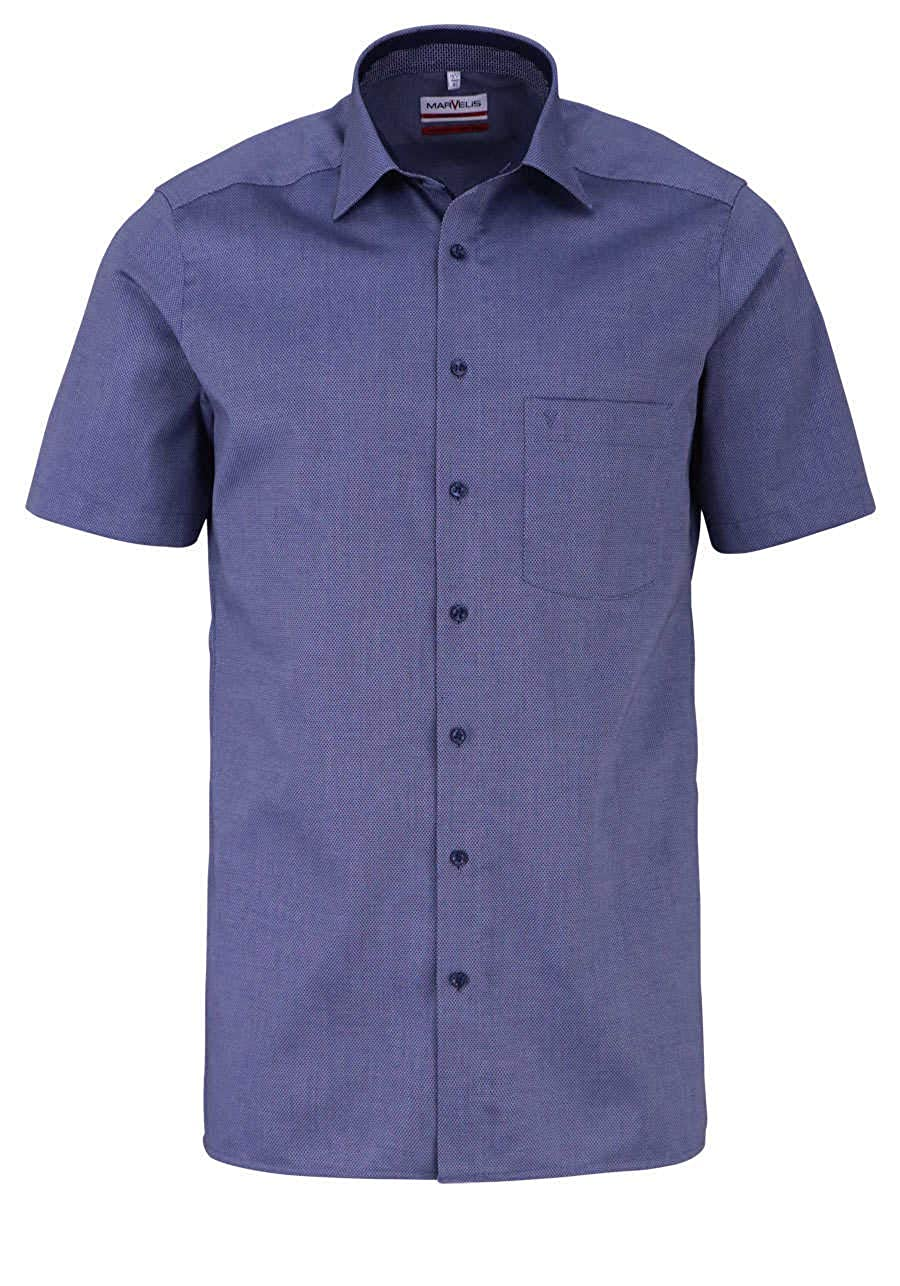 Marvelis Modern Fit Hemd Hemd Hemd Halbarm New Kent Kragen Muster Nachtblau B07KZLW5XG Business eine große Vielfalt e2fba9