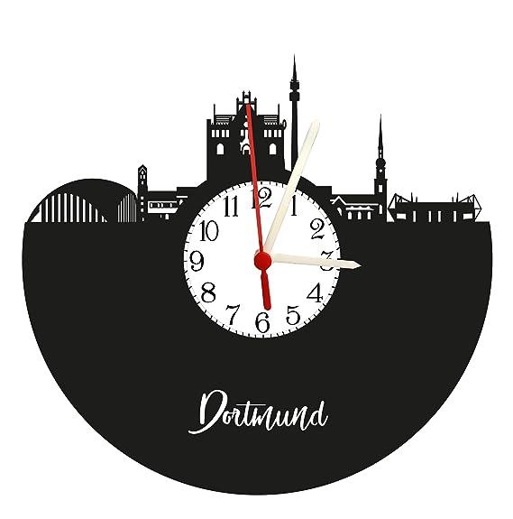 Schall placa Reloj con mecanismo de cuarzo, regalo único., fabricado en Alemania, Dortmund Skyline con esfera: Amazon.es: Relojes