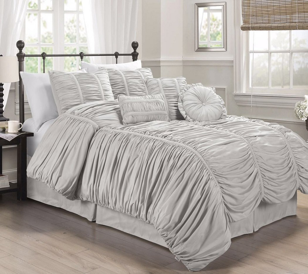 Chezmoi Collection 7-piece Chic Ruched Comforter Set (With Throw Pillows) (King, Silver Gray
