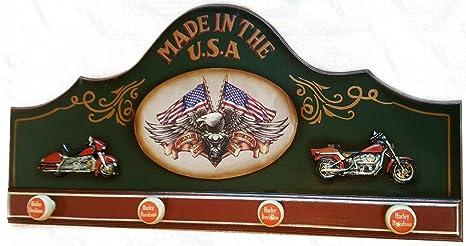 Perchero pared USA Harley custom ruta 66 madera 80 cms ...