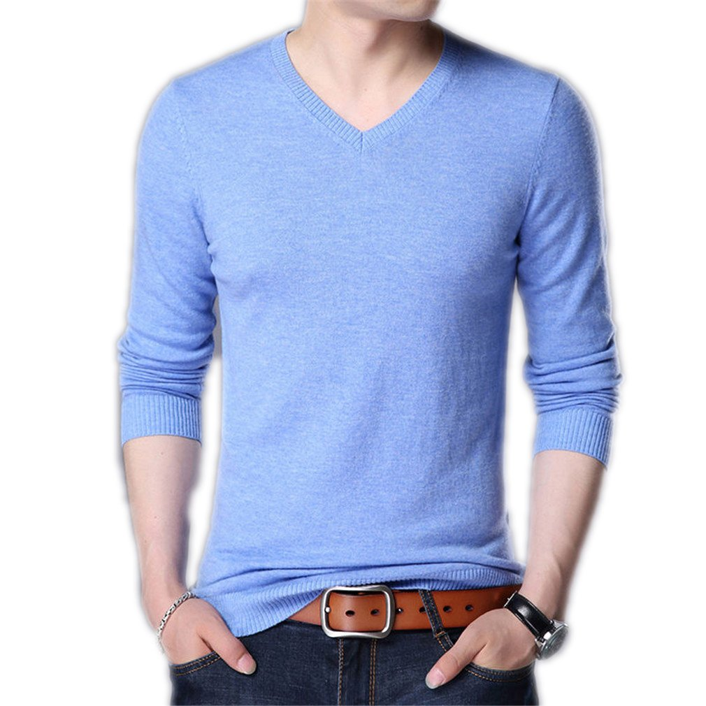 Panerasnt Knitwear Multicolor V-Neck Men's Cashmere Sleeve Wool Sweater