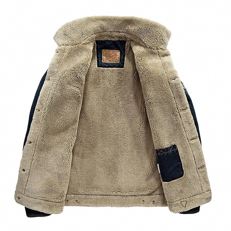 Jeans Coat Men Autumn Winter Thick Warm Jacket Coat Casual Fleece Turn-down Collar Windbreaker Denim Jacket at Amazon Mens Clothing store: