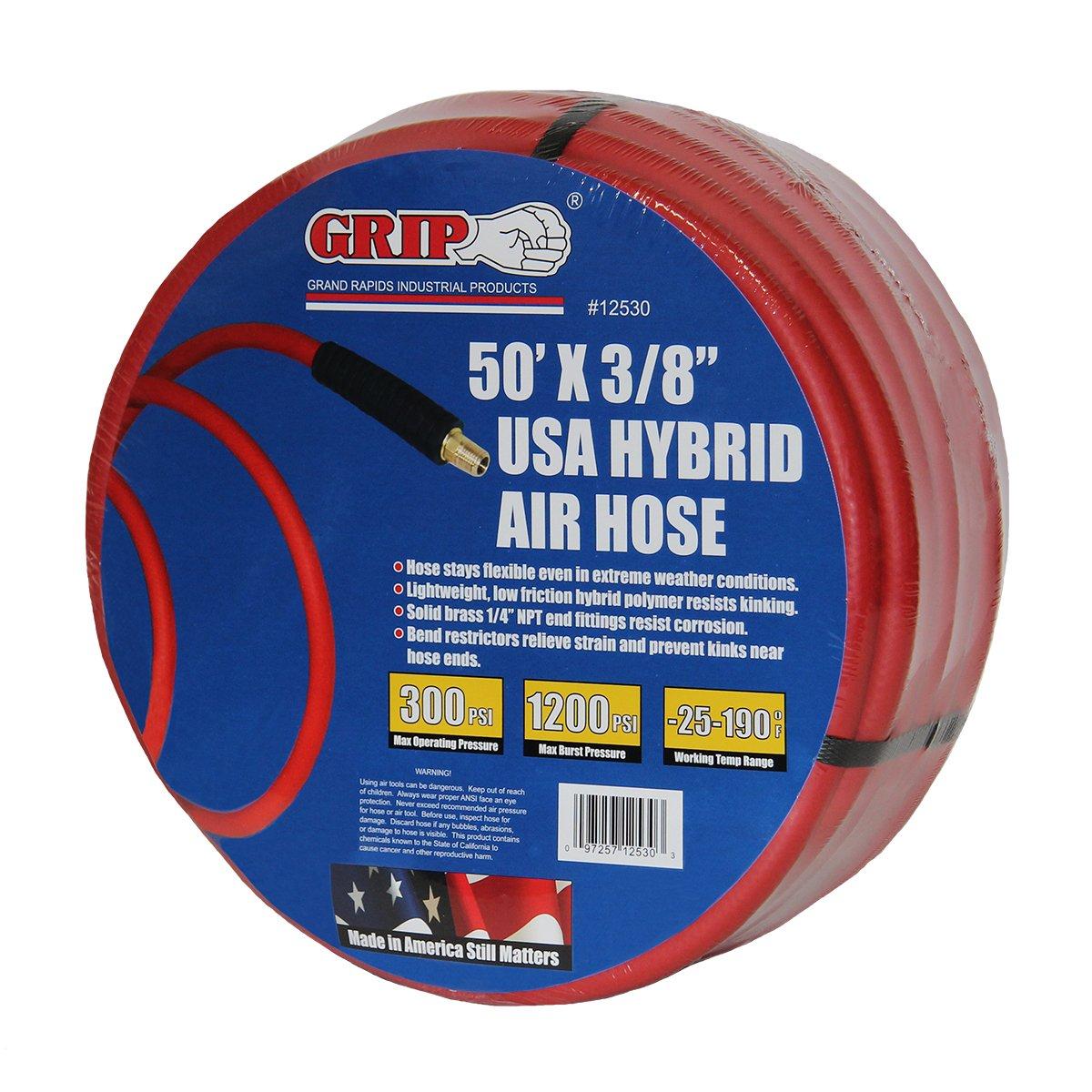 Red GRAND RAPIDS INDUSTRIAL GRIP 12530 50 x 3//8 USA Hybrid Air Hose