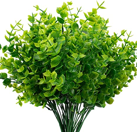 Amazon Com The Bloom Times Artificial Boxwood Pack Of 6 Artificial Greenery Stems Fake Outdoor Plants Uv Resistant For Farmhouse Home Garden Wedding Indoor Outside Decor In Bulk Wholesale Kitchen Dining