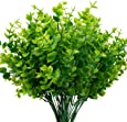 THE BLOOM TIMES Artificial Boxwood (Pack of 6), Artificial Greenery Stems Fake Outdoor Plants UV Resistant for Farmhouse Home Garden Wedding Indoor Outside Decor in Bulk Wholesale