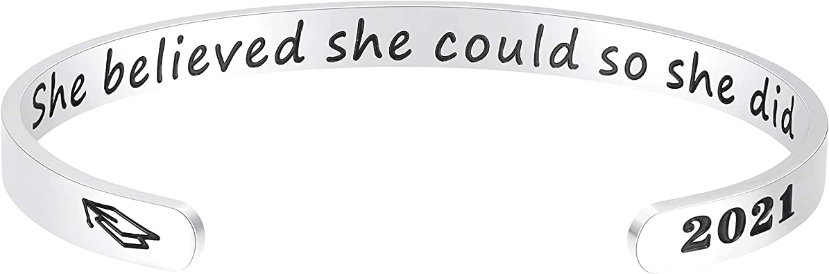 2021 Inspirational Bracelets Engraved Mantra Cuff Bangles Gifts for Women Girls