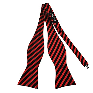 Pensee mens self bow tie classic black red stripes jacquard woven pensee mens self bow tie classic black red stripes jacquard woven silk bow ties ccuart Image collections