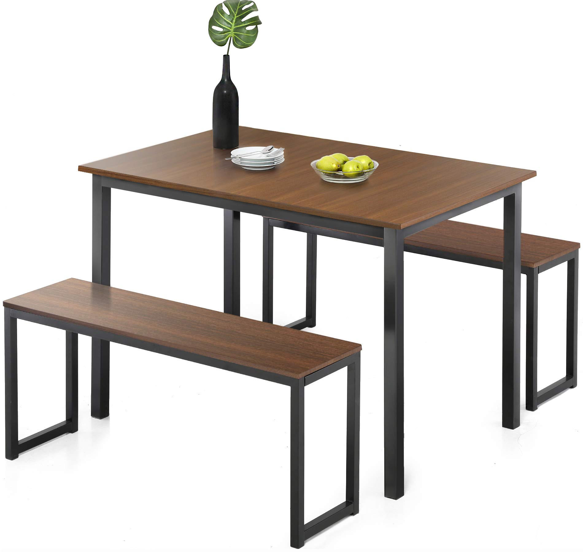 Homury Modern Studio Soho Dining Table with Two Benches 3 Piece Set,Brown by Homury