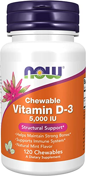 NOW Supplements, Vitamin D-3 5,000 IU, Natural Mint Flavor, Structural Support*, 120 Chewables