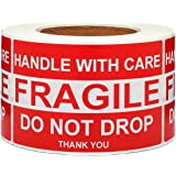 SJPACK Large Fragile Stickers 4'' x 6'' Eye-catching Fragile - Handle with Care - Do Not Drop - Thank You Shipping…