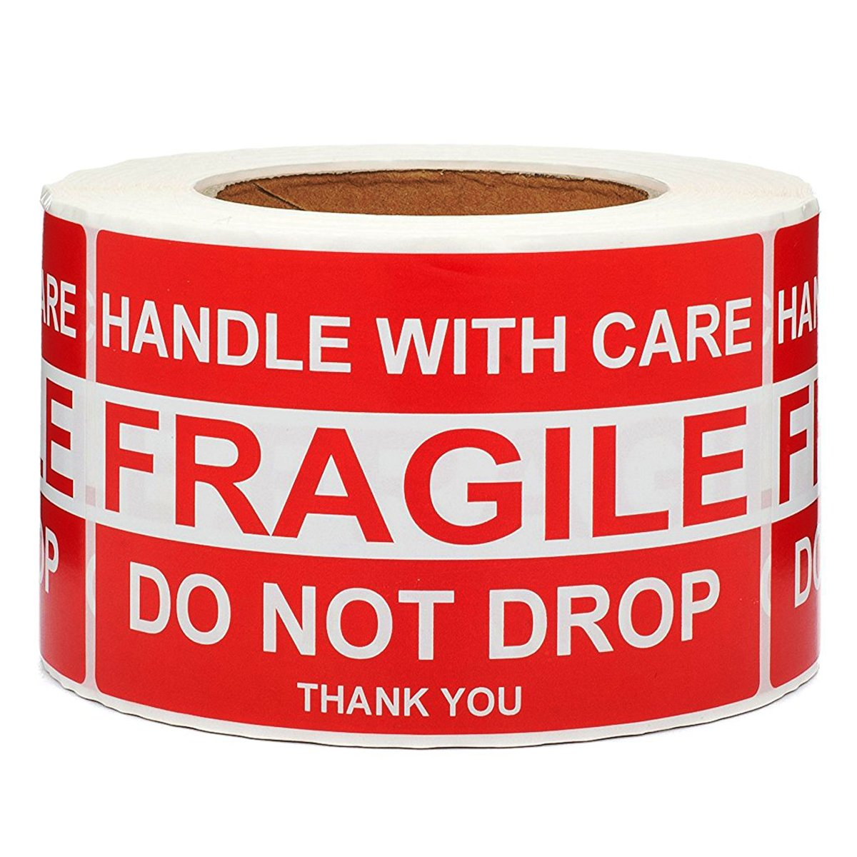 SJPACK Large Fragile Stickers 4'' x 6'' Eye-catching Fragile - Handle with Care - Do Not Drop - Thank You Shipping Labels(500 Labels/Roll) by SJPACK