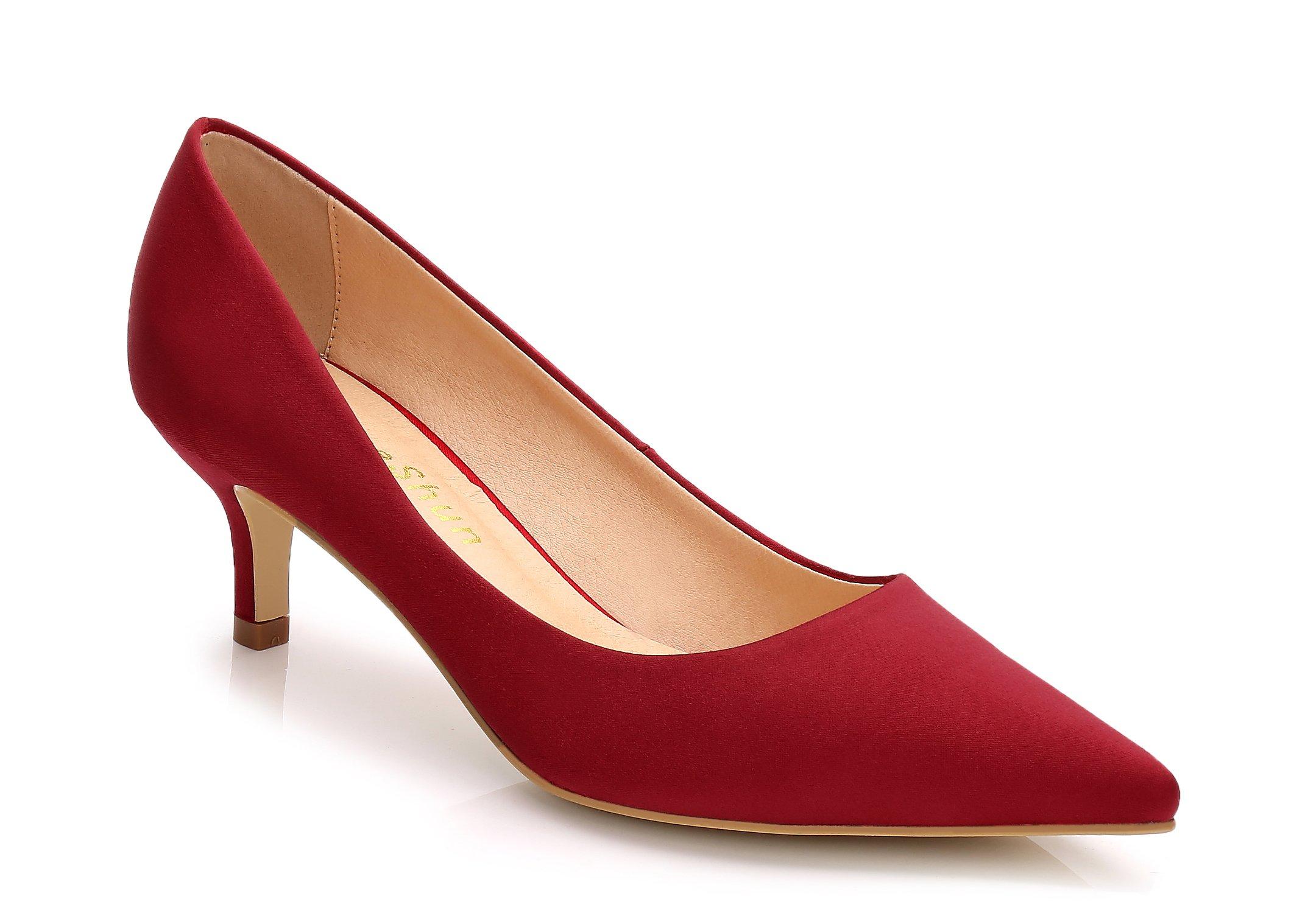 ComeShun Womens Shoes Red Slip On Kitten Comfort Kitten Heels Pumps Size 8