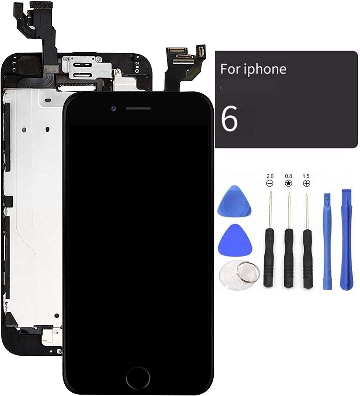 passionTR Black LCD Screen Replacement for iPhone 6 Plus 5.5 Inch with Camera Home Button Ear Speaker Proximity Sensor Full Complete Assembly Digitizer Display with Repair Tool kit