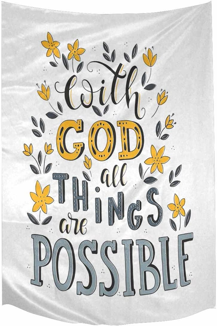 INTERESTPRINT Christian Bible Verse with God All Things are Possible Cotton Linen Tapestry Wall Art Home Decor, Tapestries Wall Hanging Art Sets, 60W X 90L Inch