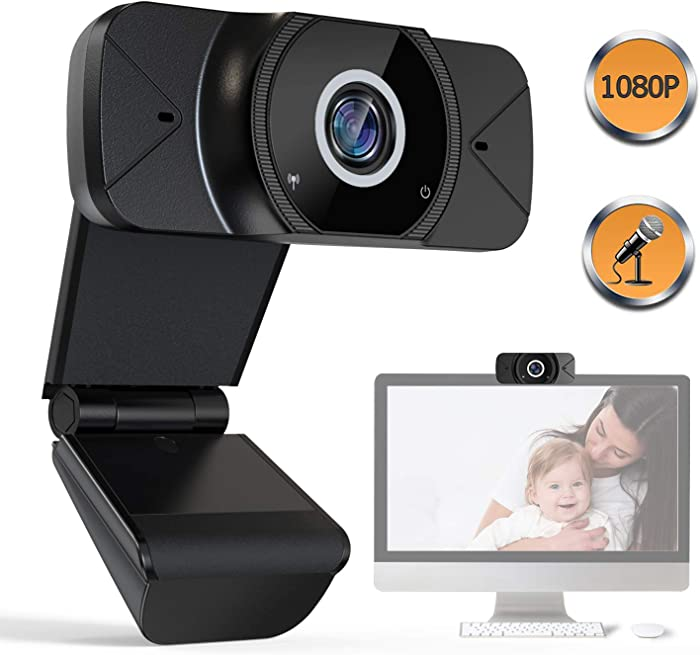 HD 1080P Webcam with Microphone - Webcam with Microphone for Desktop, Webcam Can be Used for Video Conferencing, Live Broadcast, Internet Games, Online Classes.(2020 Upgraded Version)