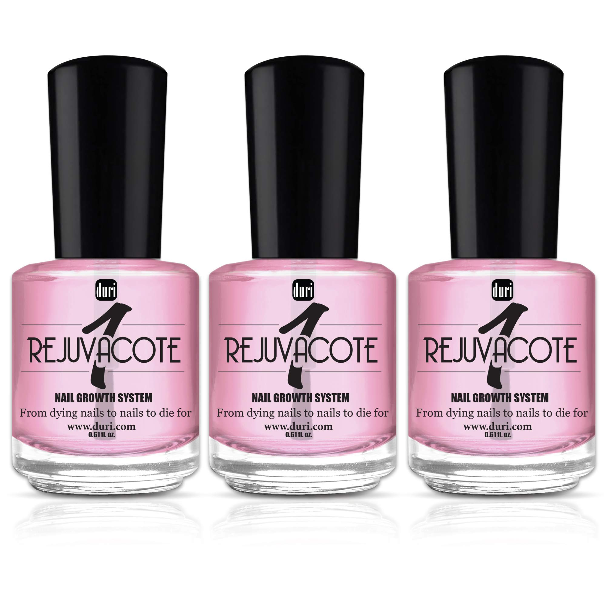 duri Rejuvacote 1 Original Maximum Strength Nail Growth System Base, Top Coat - Treatment, Nail Repair (Pack of 3)