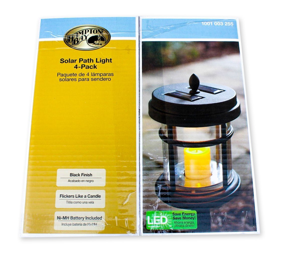 Amazon.com : Hampton Bay Solar Powered Black LED Cast Aluminum Path Light (4-Pack) : Garden & Outdoor