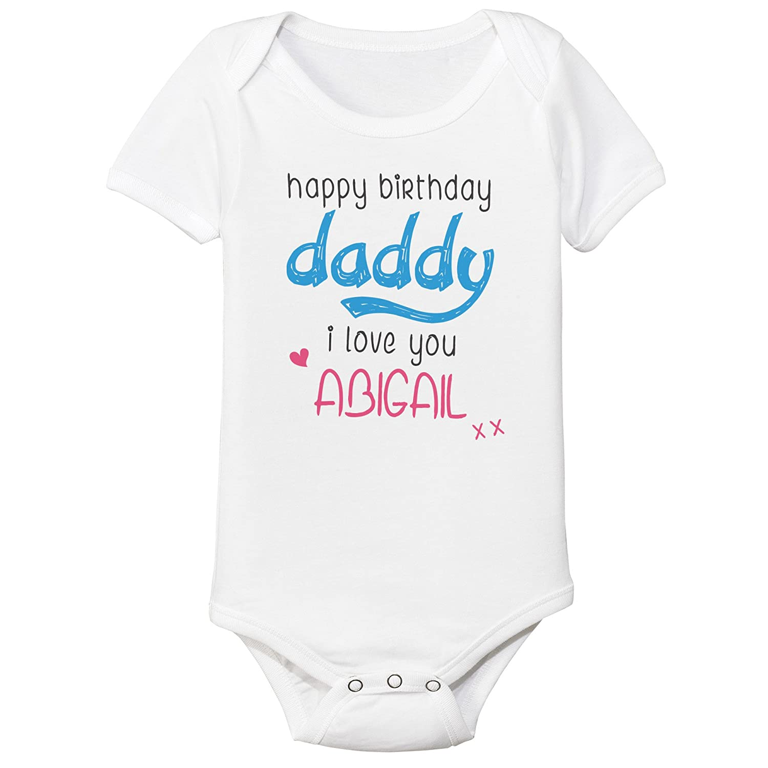 Personalised Happy Birthday Daddy Mummy i love you Name Baby Vest