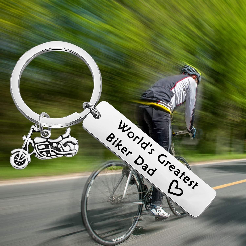 LQRI Motorcycle Keychain Biker Dad Gift Worlds Greatest Biker Dad Keychain Biker Gifts Motorcycle Dad Grandpa Gag Gift