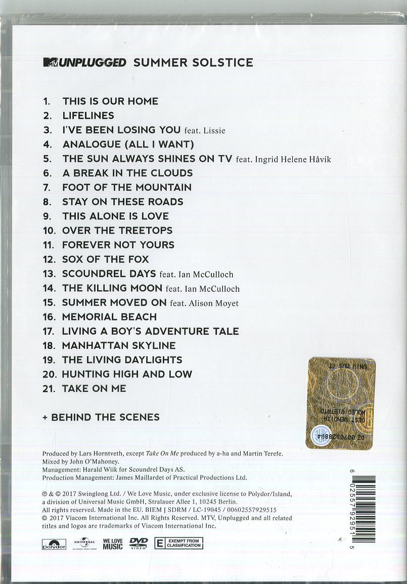 MTV Unplugged - Summer Solstice [DVD]: Amazon.co.uk: A-ha: DVD & Blu-ray
