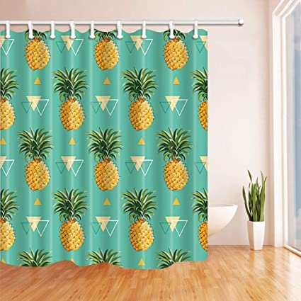 SZZWY Summer Tropical Fruit Shower Curtains Geometric With Pineapple Leaves In Turquoise Mildew Resistant Polyester Fabric