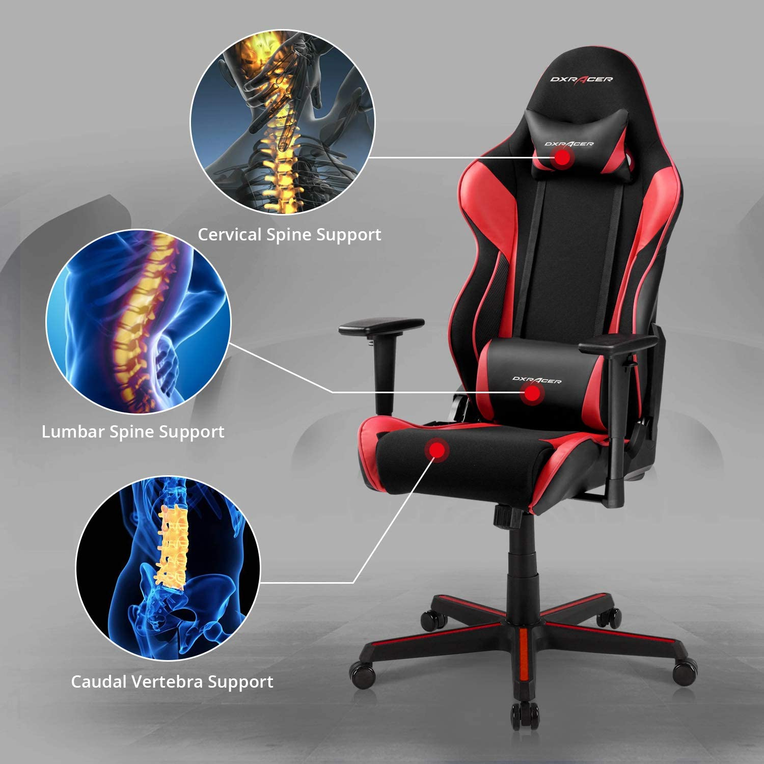 Red Black Used DXRacer OH//RAA106//NR Racing Ergonomic Gaming Home Office Chair