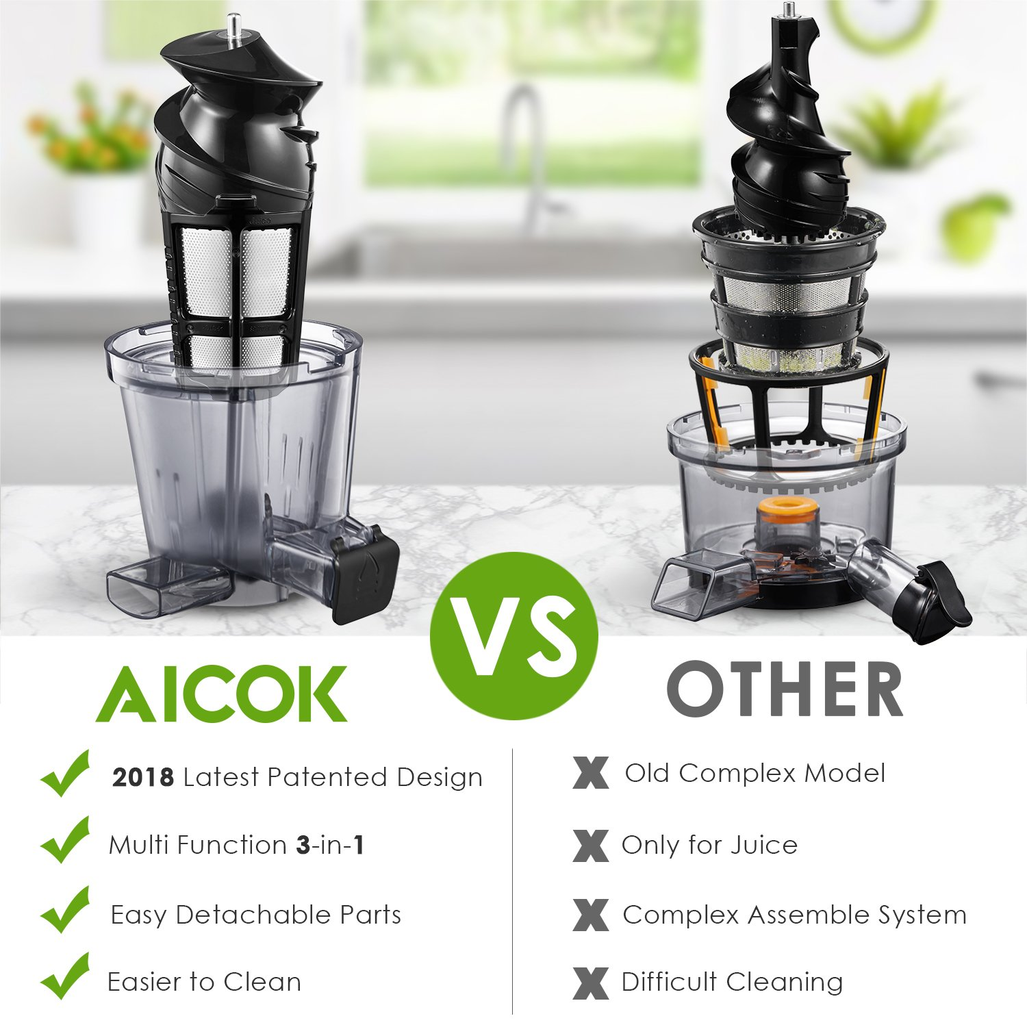 Aicok Juicer Auger Slow Masticating Juicer for Smooth and High Nutrition Juicer,Vertical Faster Masticating Juicer Includes - Making Juice,Jam and Sorbet,Quiet Juicer Extractor,Silver by AICOK (Image #3)