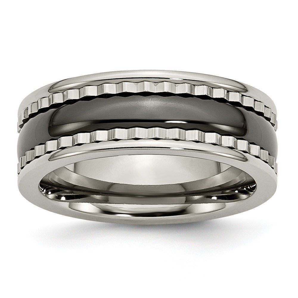 Saris and Things Titanium with Sawtooth Accent//Polished Black Ceramic Center 8mm Band Ring 7 to 12.5 Size