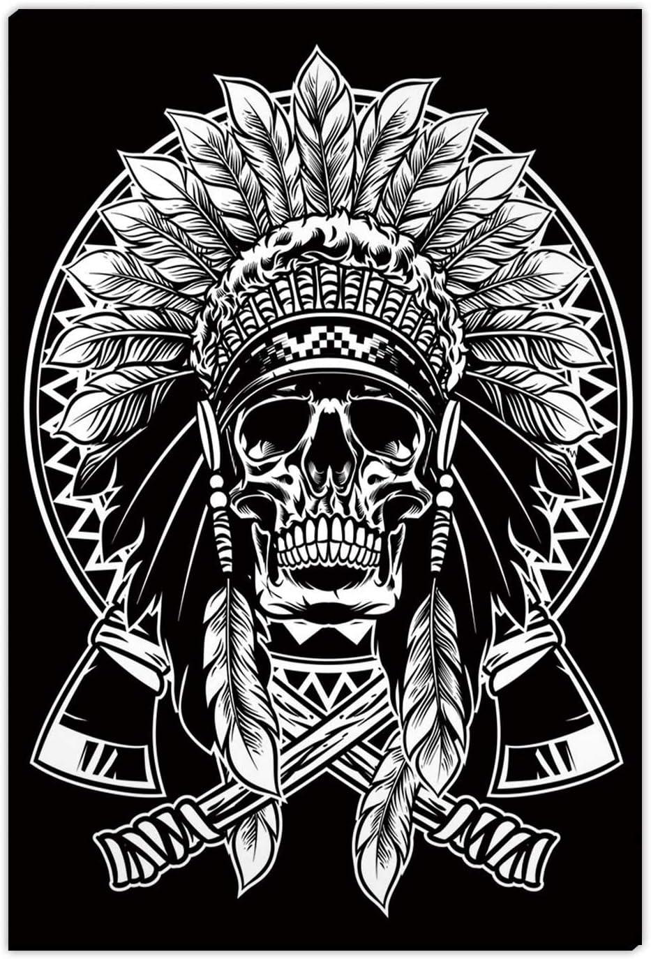 Hitecera Okjeff1912 Native American Warrior Tomahawk,Room Decor for Men,Bathroom Pictures Wall Decor,16''x19''