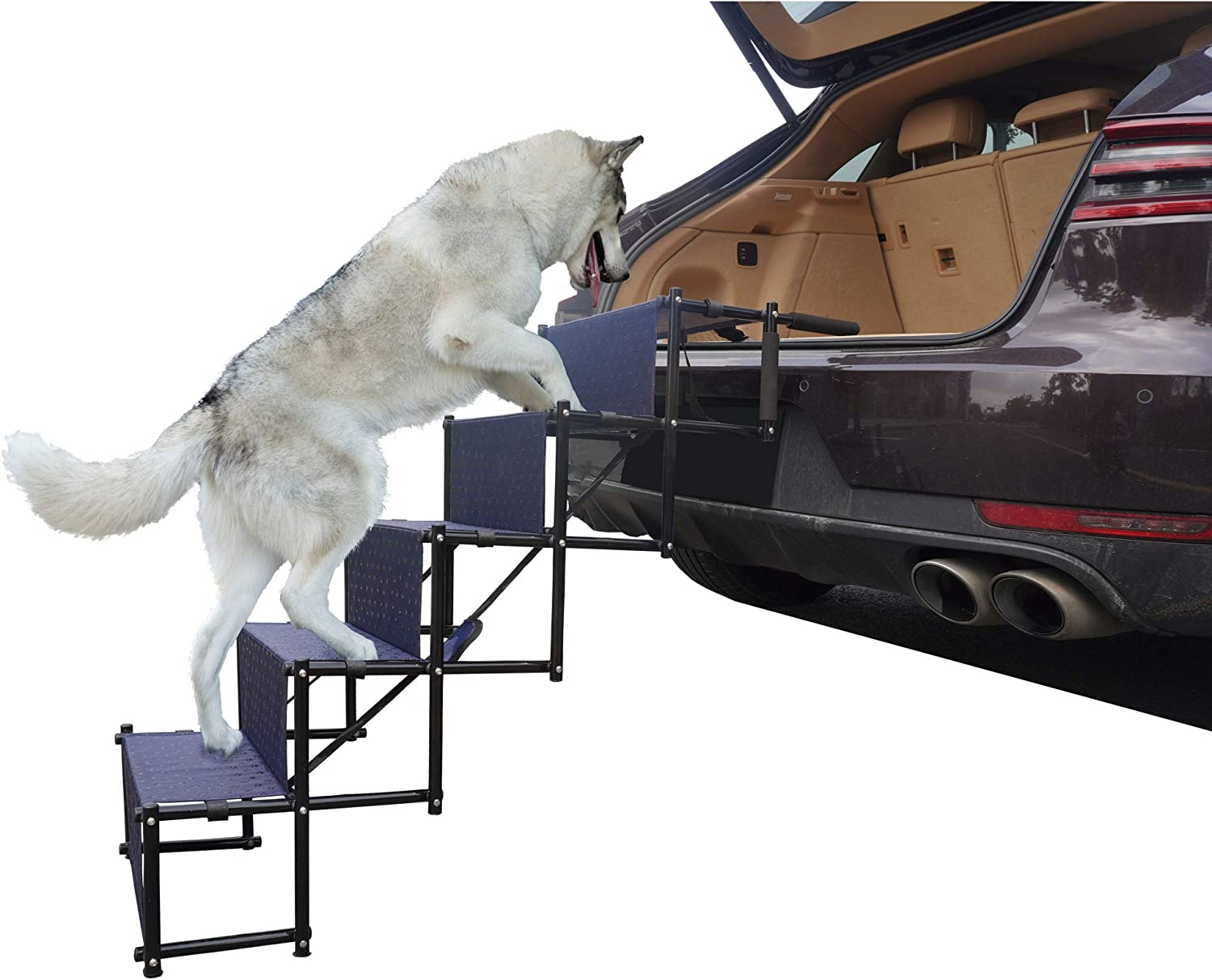 maxpama Adjustable Lightweight Upgraded Pet Dog Ramp for Car or SUV,Couch and High Bed Folding Accordion Design with Durable Metal Frame Portable Ladder Stairs with 4 Steps